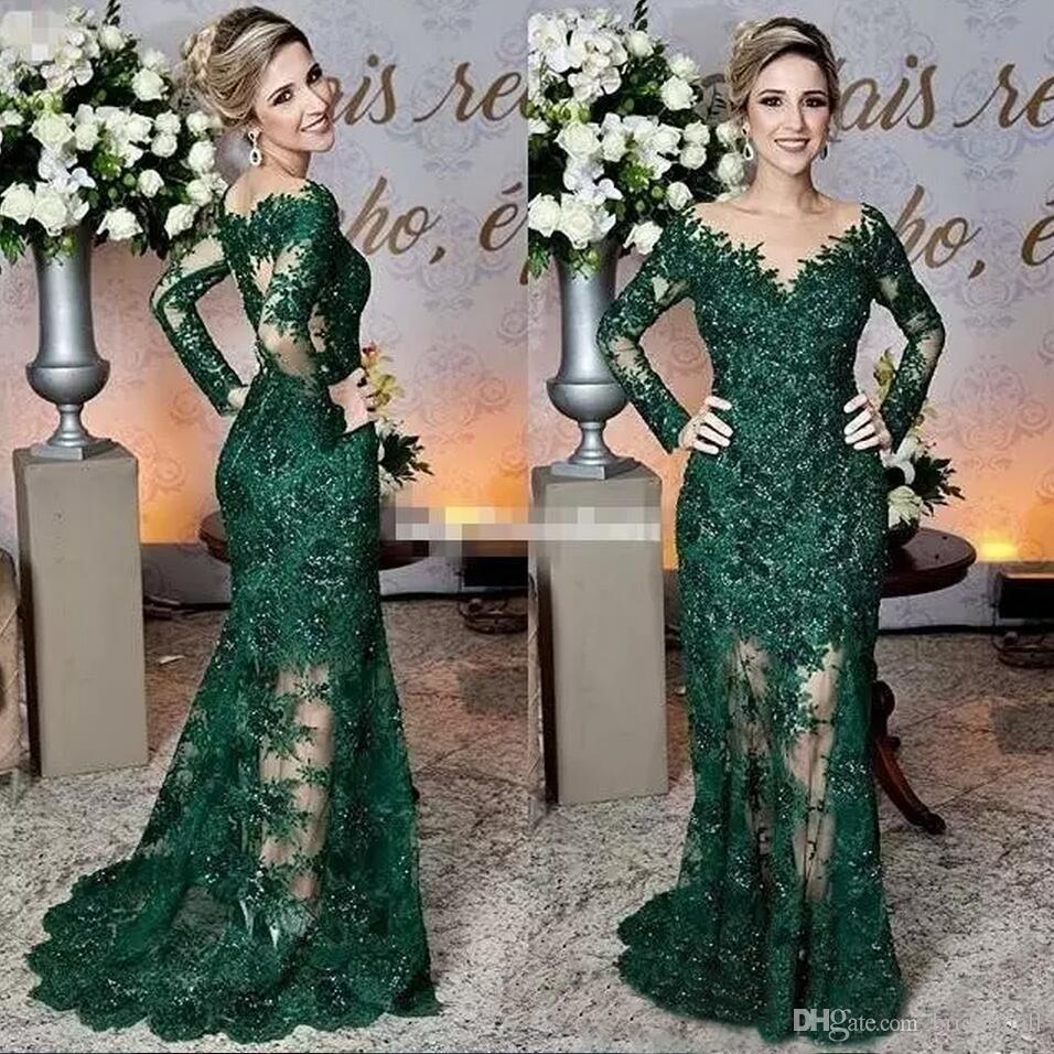 Compre 2019 Elegantes Apliques De Encaje De Color Verde Oscuro Vestidos Largos De Fiesta Joya De Cuello Vestidos De Noche Formales Sirena De Manga