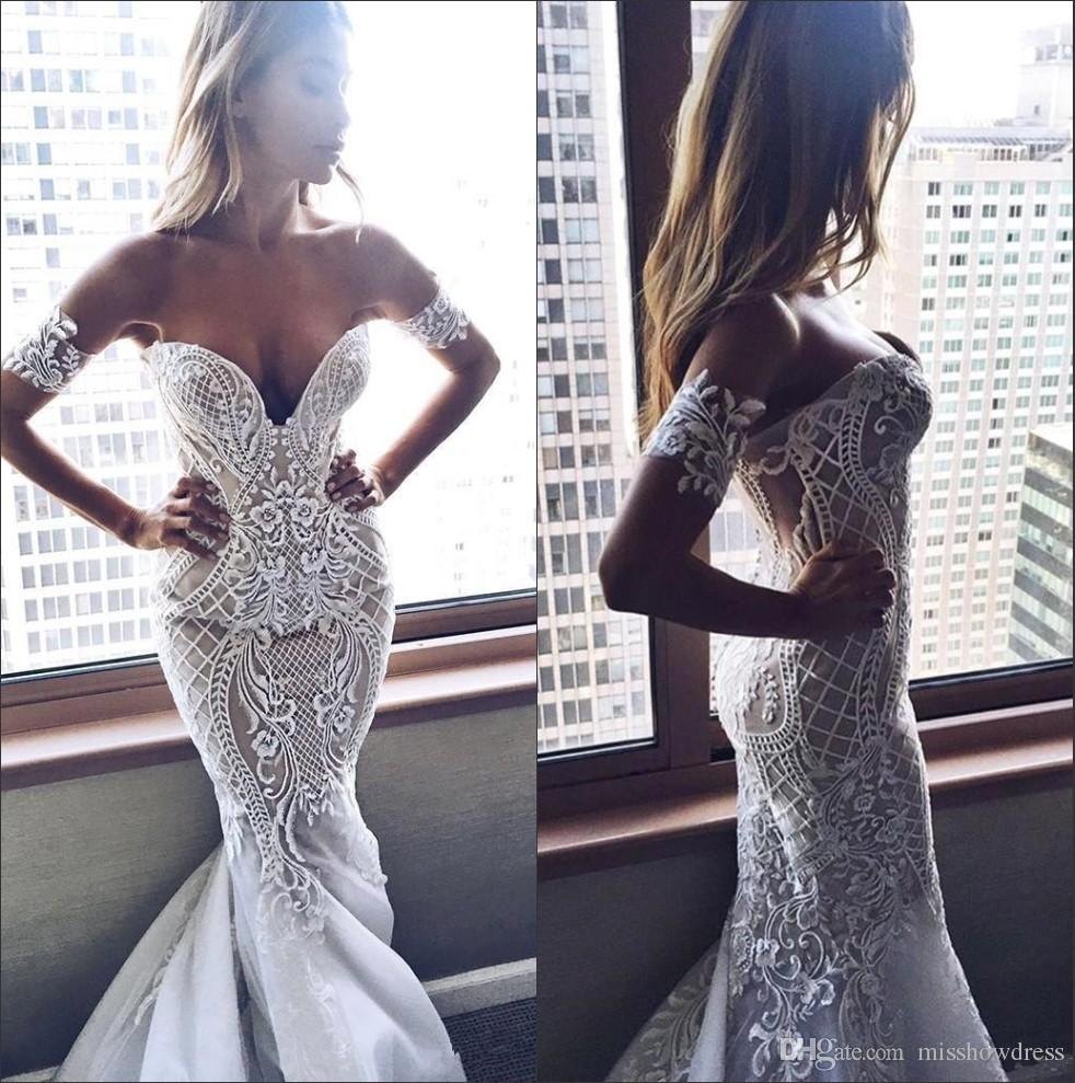 2019 Lace Mermaid Wedding Dresses Sweetheart Tulle Applique Sweep Train Wedding Bridal Gowns With Buttons Back BA6465