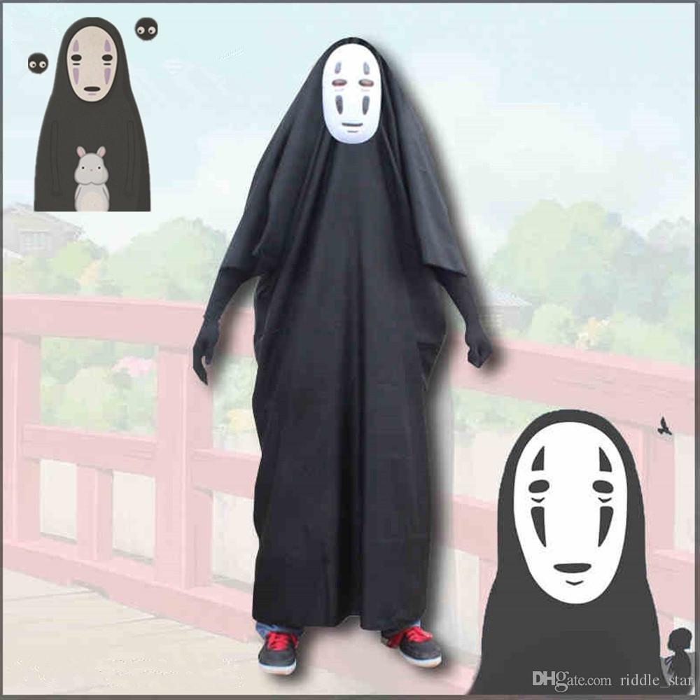 Asya Boyutu Japonya Anime Unisex Ghibli Kaonashi Stüdyo Cadılar Bayramı Ruhların Kaçışı Cosplay Hiçbir Yüz Kostüm Yüzsüz Pelerin