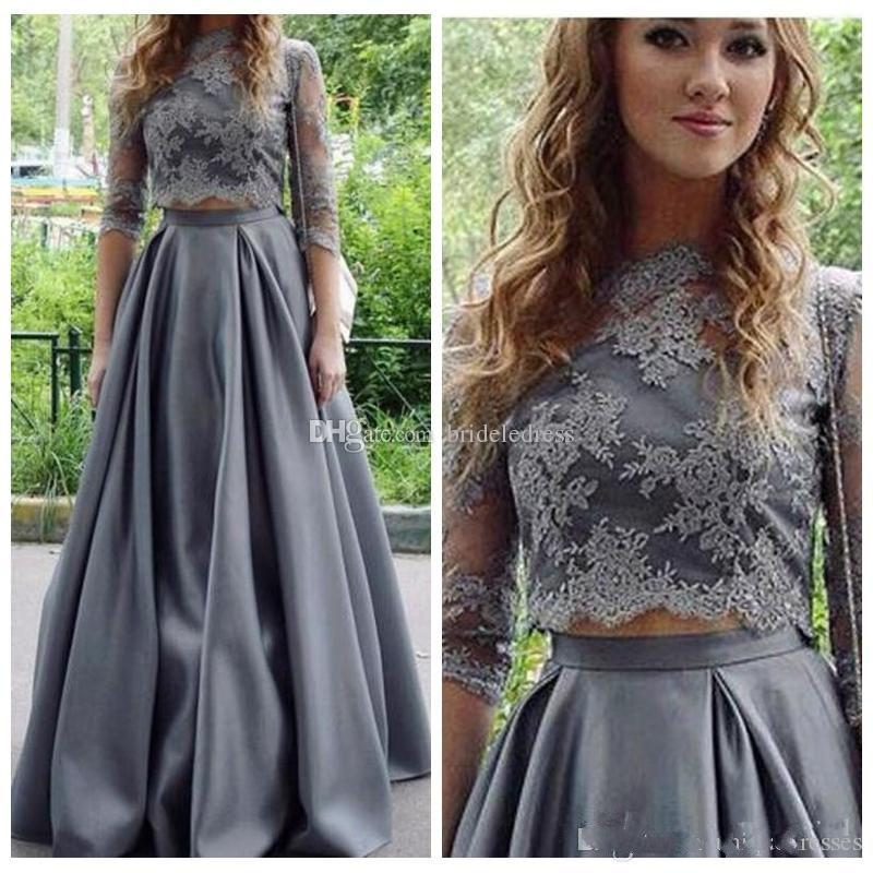 d44e8d0641 2018 Fashion Grey Two Piece Prom Dress Jewel Lace Satin 3/4 Long Sleeve 2  Pieces Party Evening Dresses Formal Gown Homecoming Wear