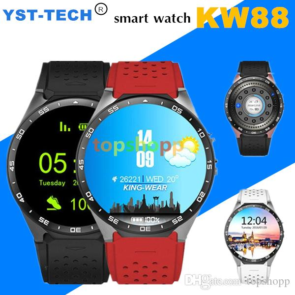 KW88 3G Smart watch Android 5.1 IOS watchs Quad Core support 2.0MP Camera Bluetooth smartwatch SIM Card WiFi GPS Heart Rate Monitor 5pcs