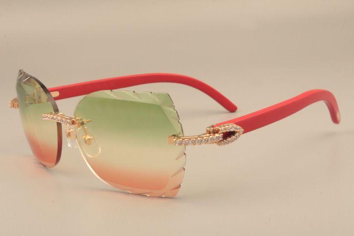 2019 새로운 패션 하이 엔드 조각 렌즈 선글라스 8300817 금 코드 럭셔리 다이아몬드 시리즈 나무 붉은 사원 선글라스. 크기 : 58-18-135mm