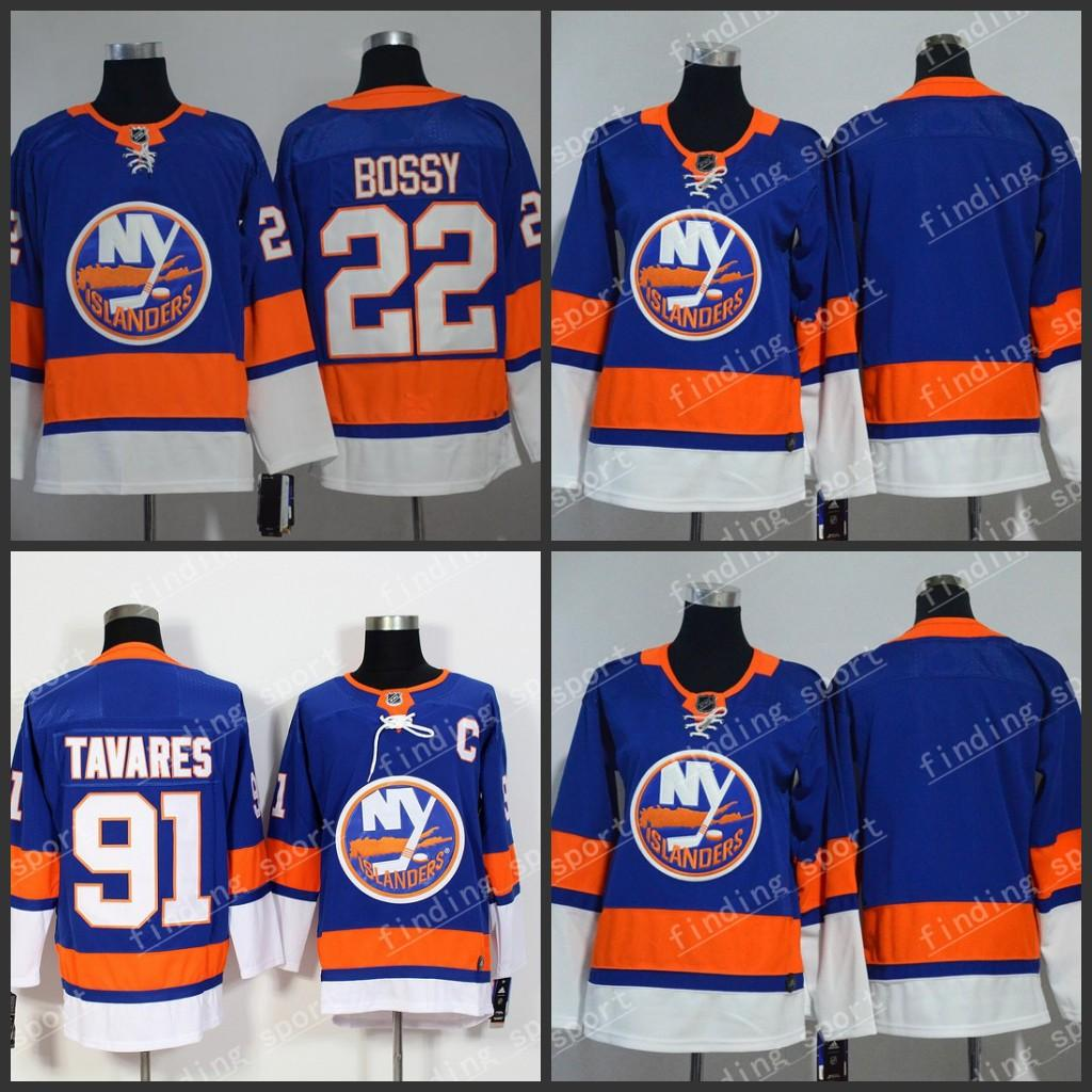 half off 3a7b4 9245c 2018-2019 Season New nhl New York Islanders hockey jerseys men Blue 91 John  Tavares 22 BOSSY hockey jersey Spot supply S M L XL XXL