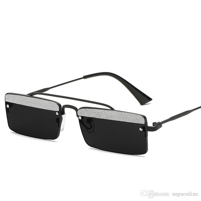 Fashionable Unique Ultra-Small Rectangle Frame Sunglasses Driving Glasses shiny diamond Perfect Christmas Gift