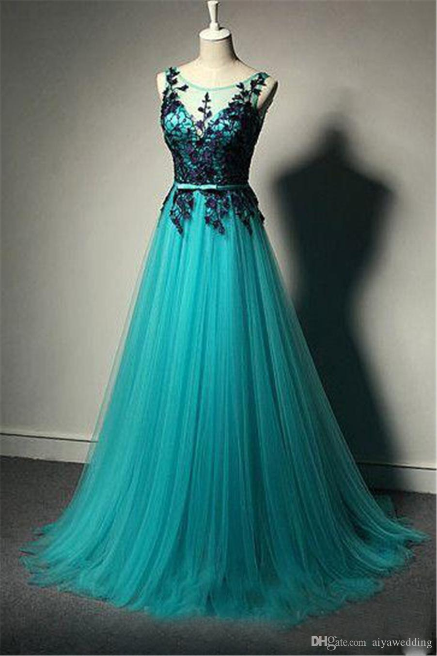 Turquoise Sheer Neck Lace V Back Plus Size Pregnant Dress For Women Middle  East Prom Gowns Reals Long Arabic Lace Evening Dresses Prom Dress Styles ...