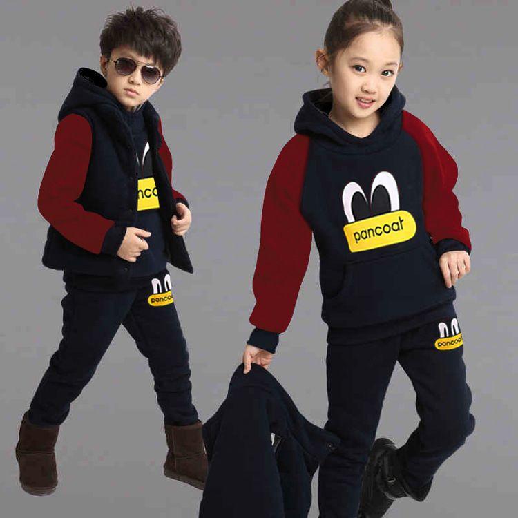 Outono Inverno Roupas Infantis Set 3 PCS Camisolas + Colete + Calças Casuais Conjuntos de Esportes Meninas Moletom Com Capuz Roupas para 4 6 8 10 12 ano