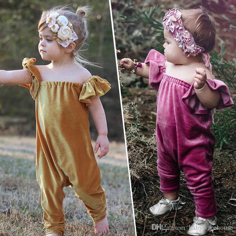 Hot 2018 Neugeborene Baby-Kleidung Kleinkind-Säuglingsbaby-Rüsche Samt weg von der Schulter Spielanzug-Overall Massiv Outfits Retro Sommer-Mädchen-Kleidung