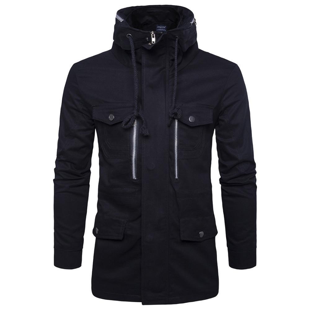 Pamuk erkek ceket Moda Midi Desen slim fit İngiliz Tarzı Standı Yaka erkek Ceket 2018 yeni stil