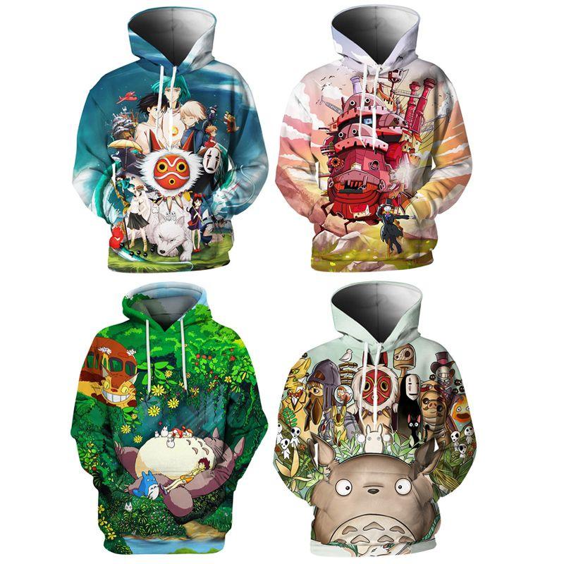 толстовка с капюшоном свитер 3d печати классический аниме Унесенные духом толстовка толстовка Мужчины / Женщины мода толстовки Миядзаки Хаяо Дракон пуловер