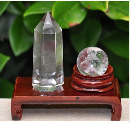 2pcs naturaleza punto cristalina esfera de cristal claro balón reiki + soporte