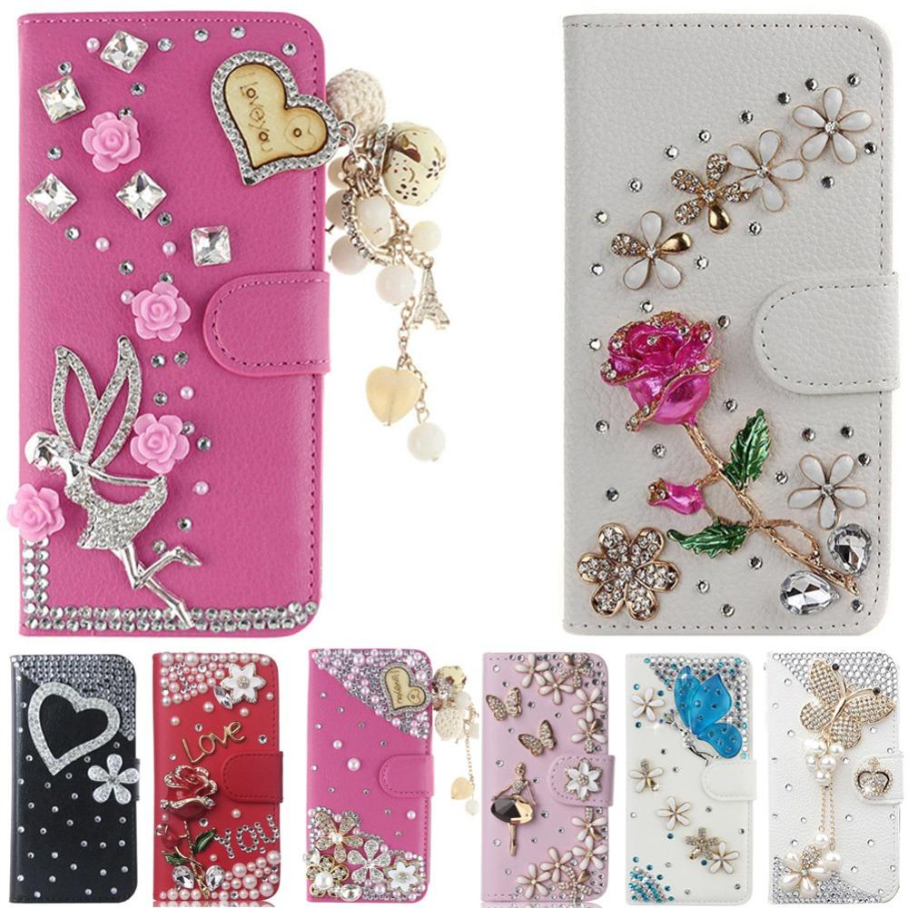 wholesale Cover For LG X Power 3, Diamond Rhinestone Bling PU Leather Flip Cover Wallet Case Protective