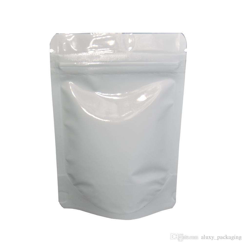 8.5 * 13cm Blanc Brillant Stand Up Sacs En Aluminium D'emballage Sacs 100pcs / lot Doypack Zip Verrouillage Grains De Café De Stockage Du Café Mylar Pouch Zipper Top Sacs