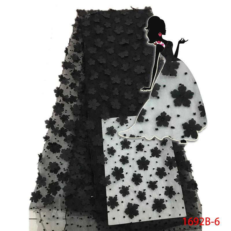 2017 New Design 3D Good Quality Chiffon Flower Trim Party African Lace Fabric Nice Tulle lace aplique for dress AMY1692B-1