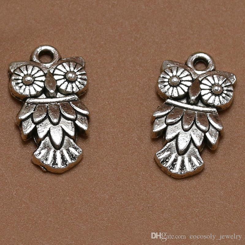 Karışık Kuş Baykuş Dangle 100pcs / lot Antik Gümüş Takı Bulgular Bileşenleri Fit Avrupa Charm Bilezik 20 * 11mm