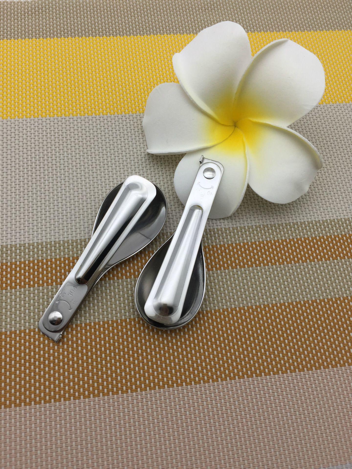 Cucchiaio pieghevole da tavola in acciaio inox 304 Cucchiaino da picnic pieghevole pieghevole