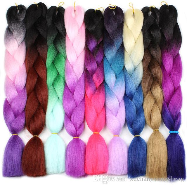 Ombre Kanekalon Extensões de Cabelo Trança 24 polegadas Sintético Jumbo Tranças De Crochê Cabelo Para As Mulheres Roxo Borgonha Verde