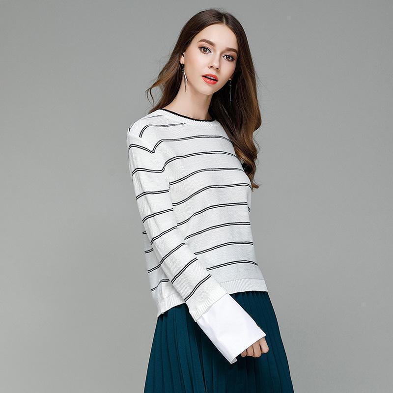 Mulher de alta Qualidade Camisola de Malha Pulôver de Todos Os Fósforos Listrado Estilo Coreano Manga Longa O-pescoço Preto Cáqui Blusas Brancas