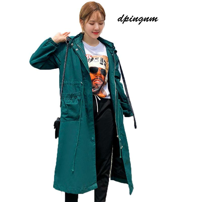 2018 Women Trench Coat Spring Autumn Plus Size Long Spring Coat With Belt Trench for Women Casaco Feminino