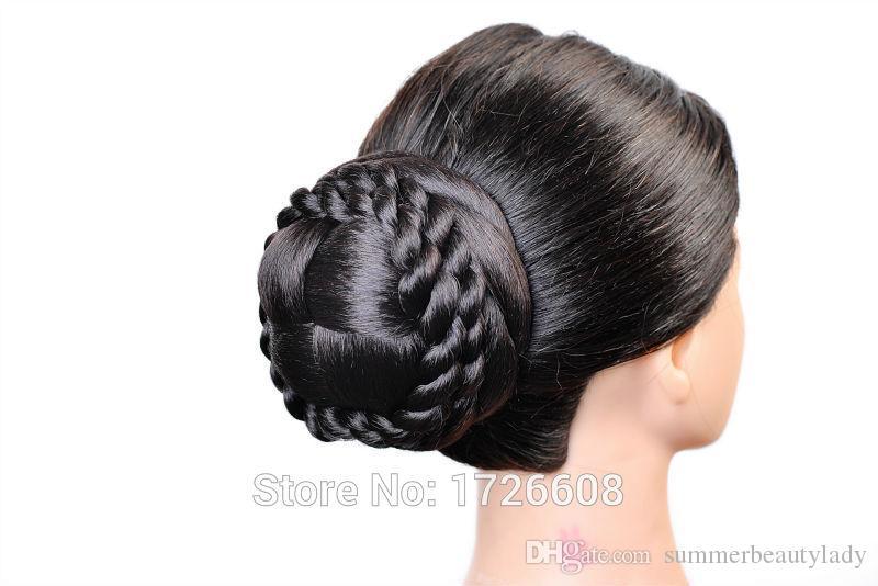 Sentetik Uzatma Chignon Saç Bun Klip Örgü Postiş Updos Sahte Çörekler Gelin Saç Adet Düğün Saç Aksesuarları