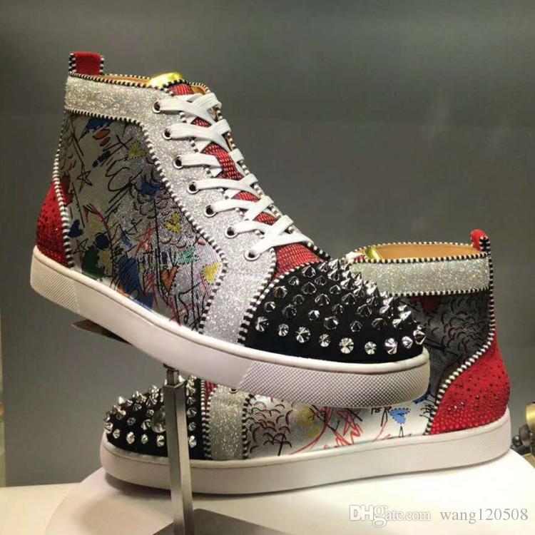 Nouveau Femmes Hommes Bas Bas Sneakers De Luxe Chaussures En Plein Air Impression Argent Pik Pik Sans Limite RARE studs strass graffiti Marque Casual Chaussures