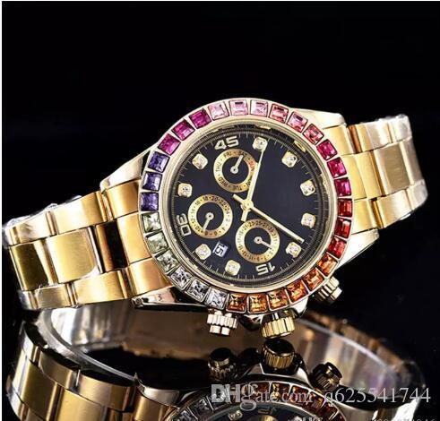 Relogio Luxury Mens 브랜드 시계 빅 다이아몬드 데이 데이트 골드 스테인레스 스틸 회장 자동 시계 다이아몬드 손목 시계 망 골드 시계