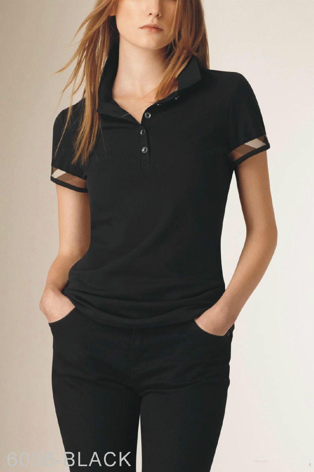 women's black polo shirt