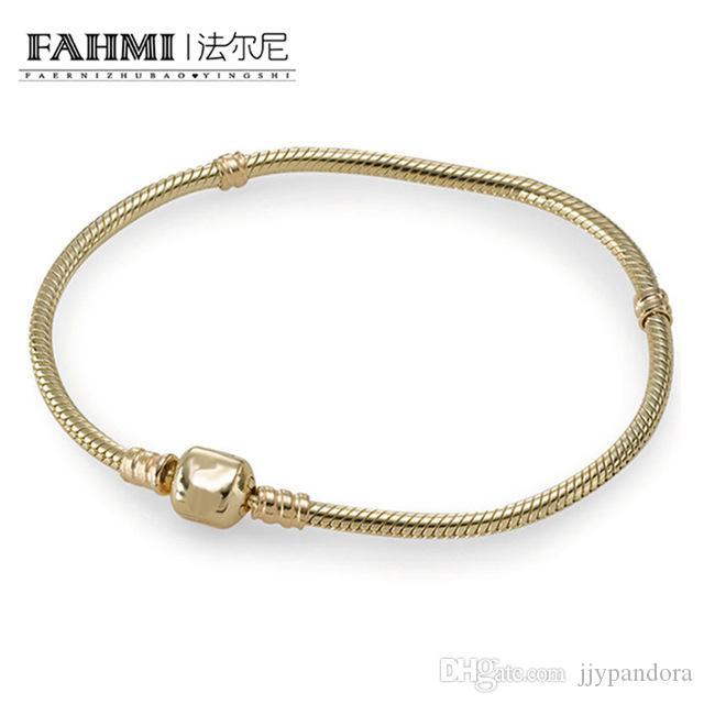 FAHMI Original 100% 925 Sterling Silver 14 k Pulseira De Ouro Serpente Cadeia Senhora Pode Ajustar A Jóia Fina Presente Do Partido Moda 8037