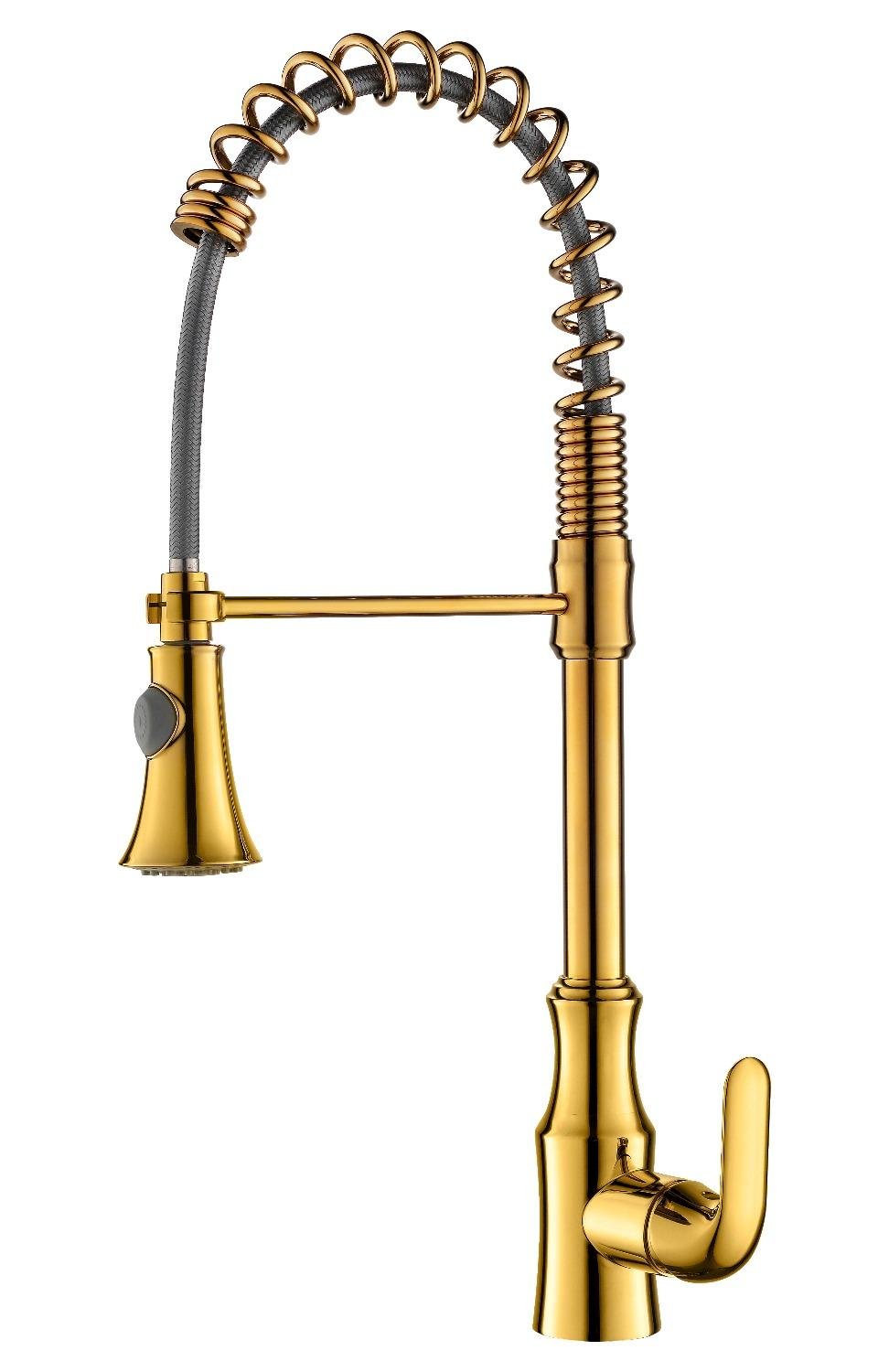 Free ship gold pvd color pull out kitchen faucet mixer tap Single hole /handle deck mounted Spring faucet