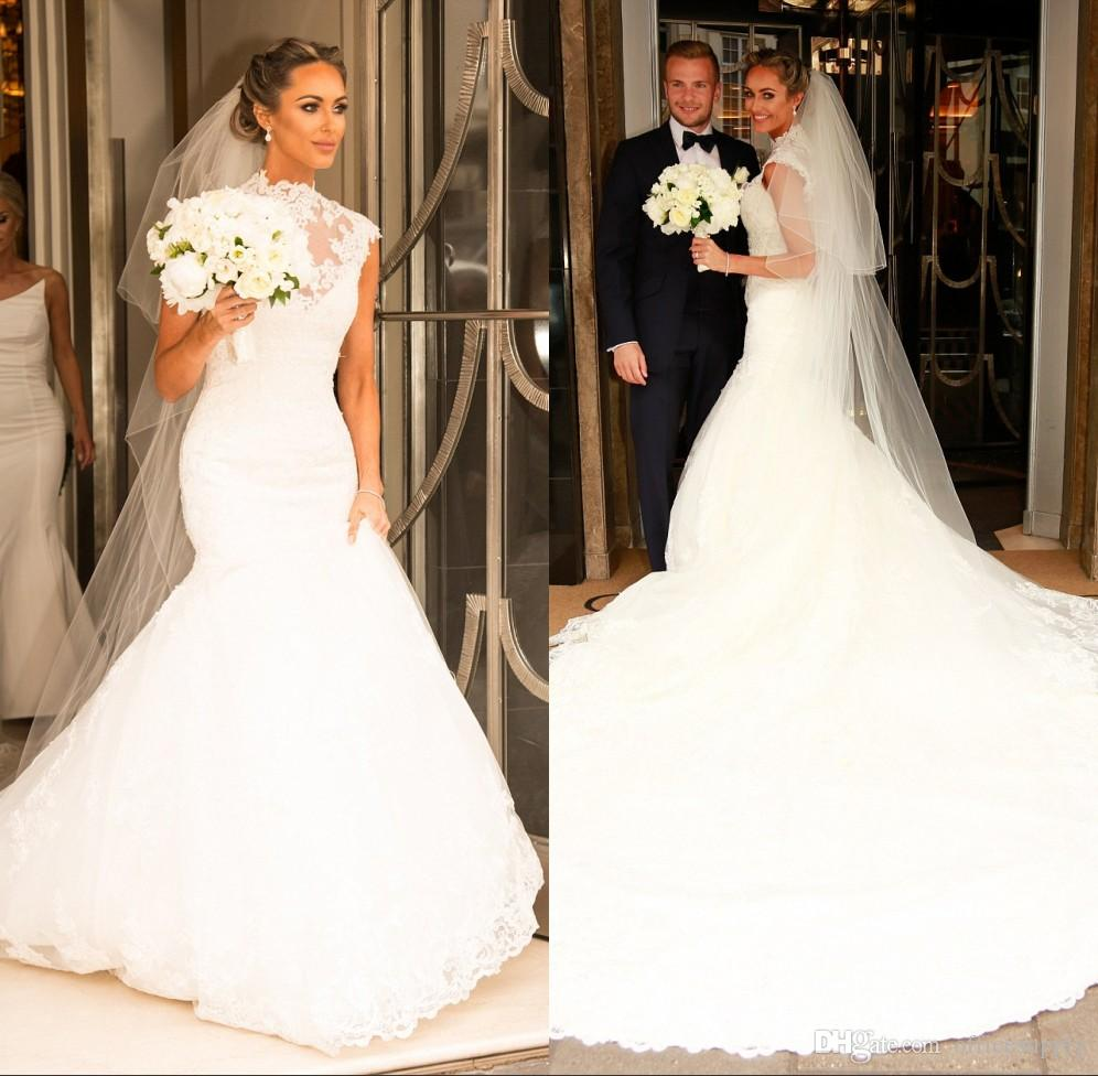 Vintage High Neck Lace Mermaid Wedding Dresses 2019 Church Romantic White Appliqued Cap Sleeves Long Ruched Bridal Gowns Formal