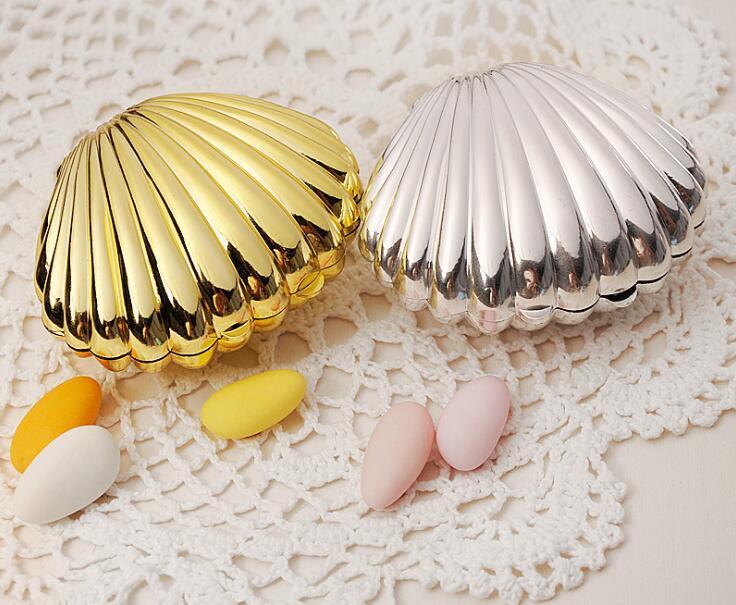 Shell Candy Box Kunststoff Silber Gold Farbe Candy Case Hochzeit Gunsten Geschenke Baby Shower Geschenkbox Hochzeit Dekoration Mariage