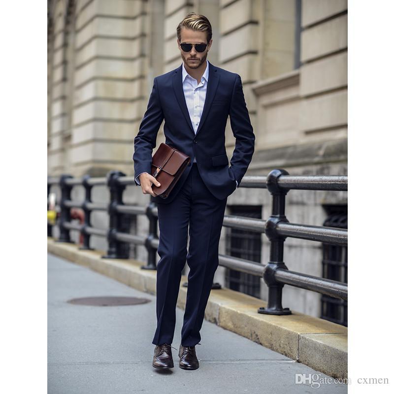Men Suits Wedding Custom Made Beach Royal Blue Suit Wedding Slim Fit Groomsman Prom Two Buttons Best Men Blazer Suits Slim Fit Jacket+Pants