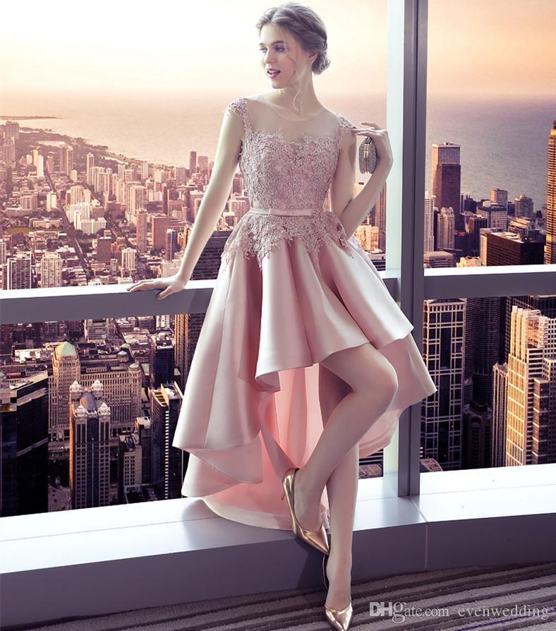 Abiti da damigella d'onore low satin in raso rosa 2019 abiti da cerimonia con apertura sul retro nuovi abiti da sera lunghi eleganti