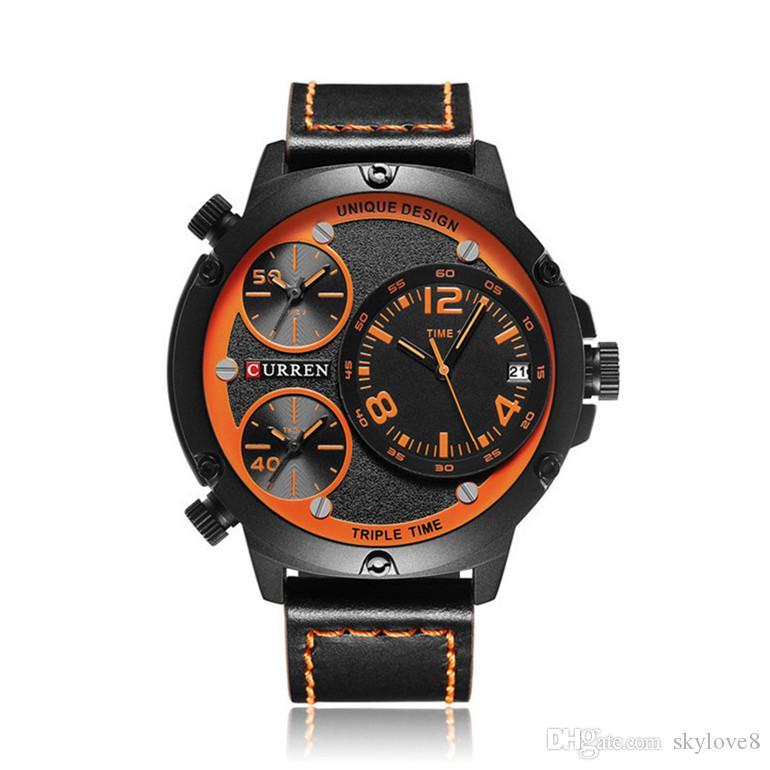 New CURREN8262 Mens Montres Marque De Luxe Horloge Mâle Bracelet En Cuir trois Cadran Militaire Étanche Montre-Bracelet Hommes Quartz Mince Montre