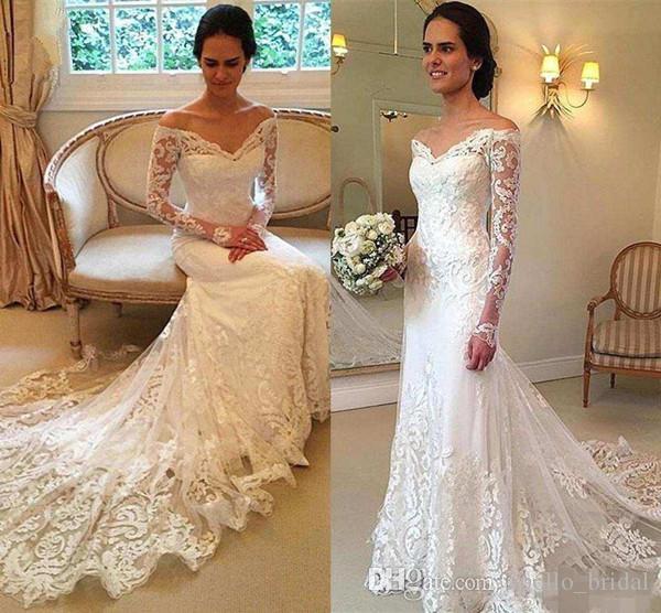 2020 elegante do casamento do país Vestidos Mermaid Pescoço V manga comprida Varrer Vestidos Train vestidos de noiva Com Lace Applique Plus Size