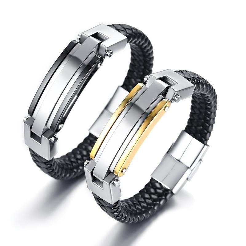 Hommes Femmes Bracelet en cuir 699 pour Tressé En Noir Avec Tag en acier inoxydable Personnaliser Bijoux Couple personnalisé