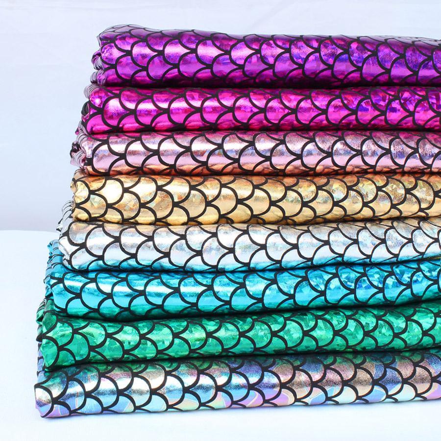"Sparkly Hologram Spandex Mermaid Printed Scale Fabric Stretch fabric Dancer Swimwear - 60"" Wide by the Yard"