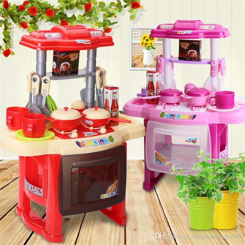 Compre Novas Crianças Aparelhos De Cozinha Conjunto Crianças Cozinha Brinquedos Grande Cozinha Cozinhar Tableware Simulação Modelo Colorido Play House