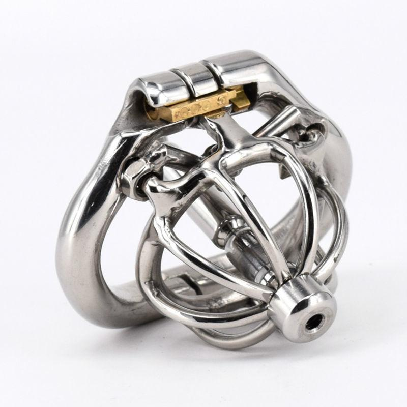 Male Chastity Cage Spiked Cock Cage Stainless Steel with Urethral Stretcher Dilator Super Small Chastity Device Penis Lock Ring
