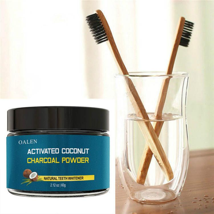 Todos los dientes de carbón activado natural y orgánico que limpian el polvo 60g del diente y de la goma de mascar con el cepillo de dientes de bambú
