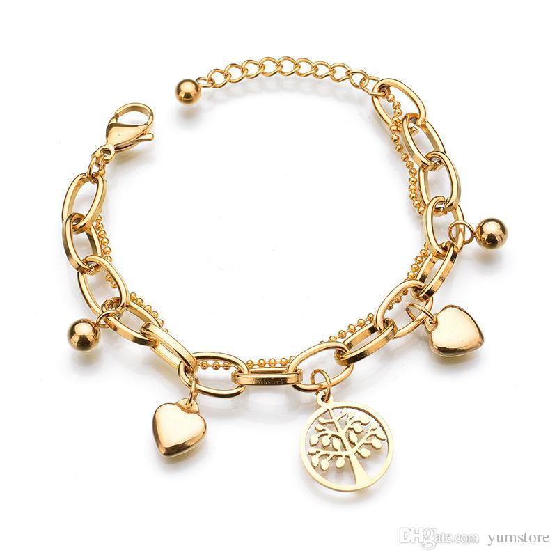 Mode Femmes Bracelet De Haute Qualité Shinning Bracelet Bracelet Avec Coeur La Vie De L'arbre Charmes Bracelet Pour Les Filles