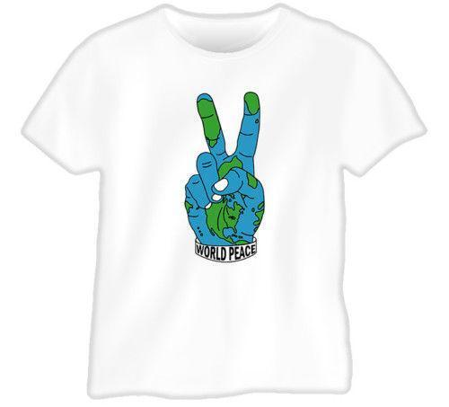 World Peace Hand Sign Earth United Map White T Shirt