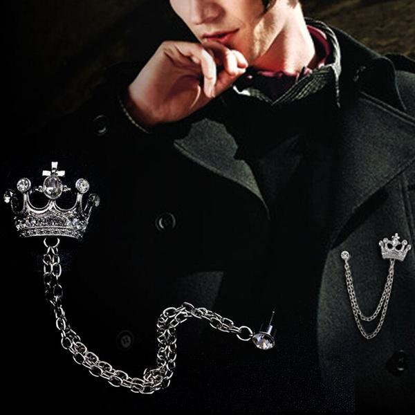 Men & Women's High-grade Crown Brooch British Wind Suit Chains Pin Badge Retro Rhinestones Boutonniere Hot Sale