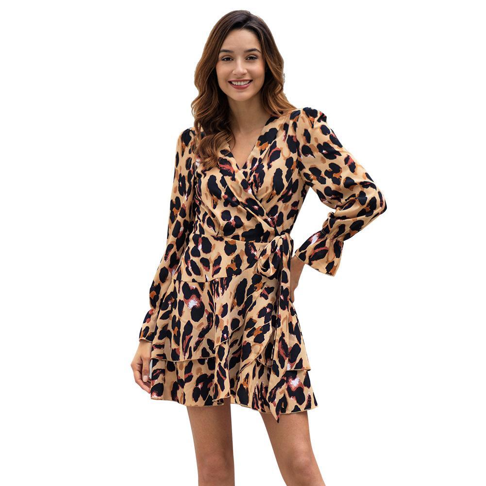 Leopard-Kleid der langen neuen Frauen des Frühlinges reizvolles europäisches Kleid C3060