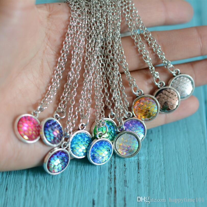 Moda 8 colores Sirena Escala Resina Encanto Collares pendientes Escala de pescado Cadenas de acero inoxidable Collar Para Las Mujeres Señoras Accesorios de la joyería