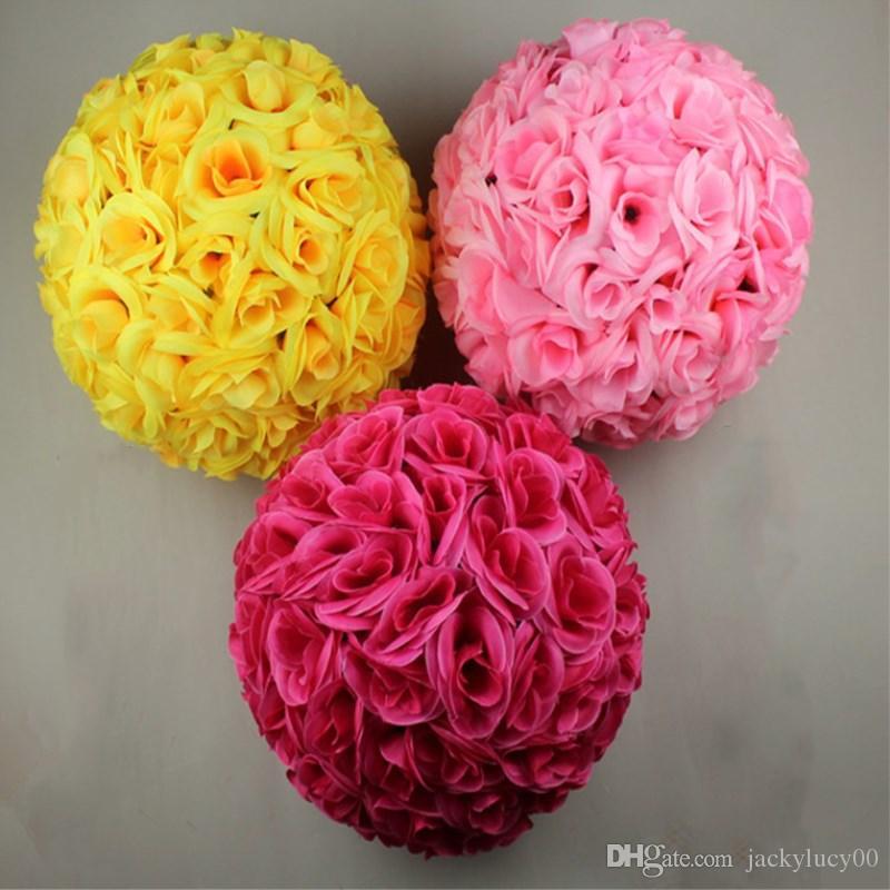 50 سم ديا أنيقة روز زهرة الكرة الاصطناعي باقة الزفاف التقبيل الكرة زينة المركزية أبيض أحمر أرجواني وردي أصفر في الأوراق المالية