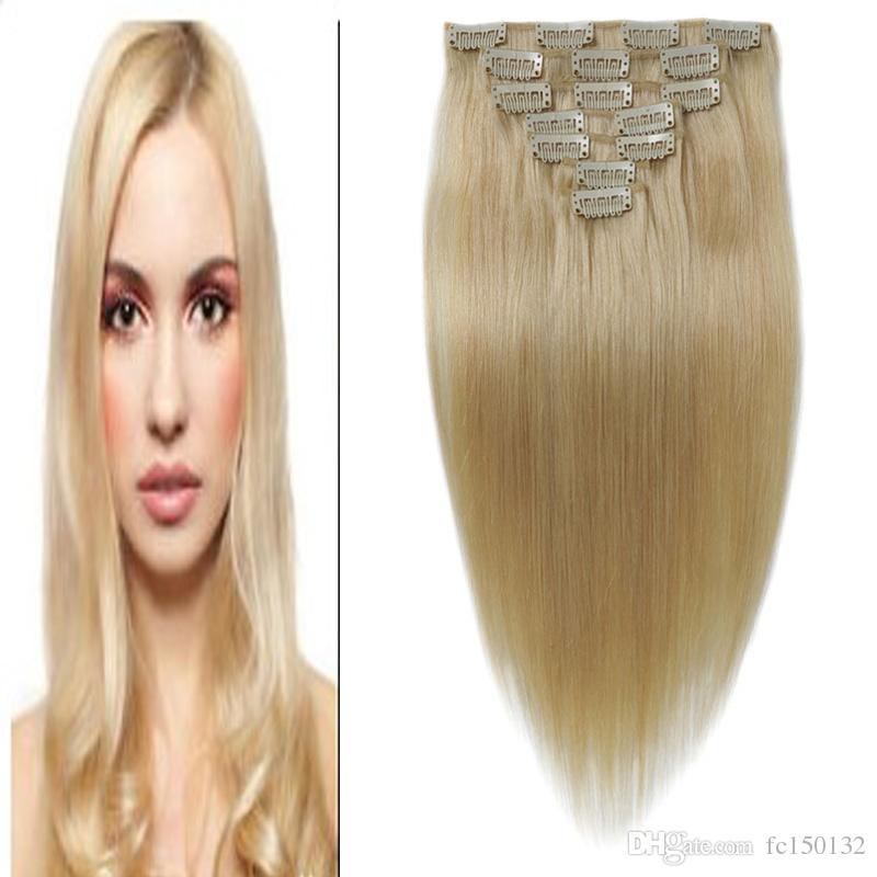 "7Pieces/Pack Clip Ins Hair 10""- 24"" Bleach Blonde Brazilian Remy Straight Hair 100% Clip in Human Hair Extensions"