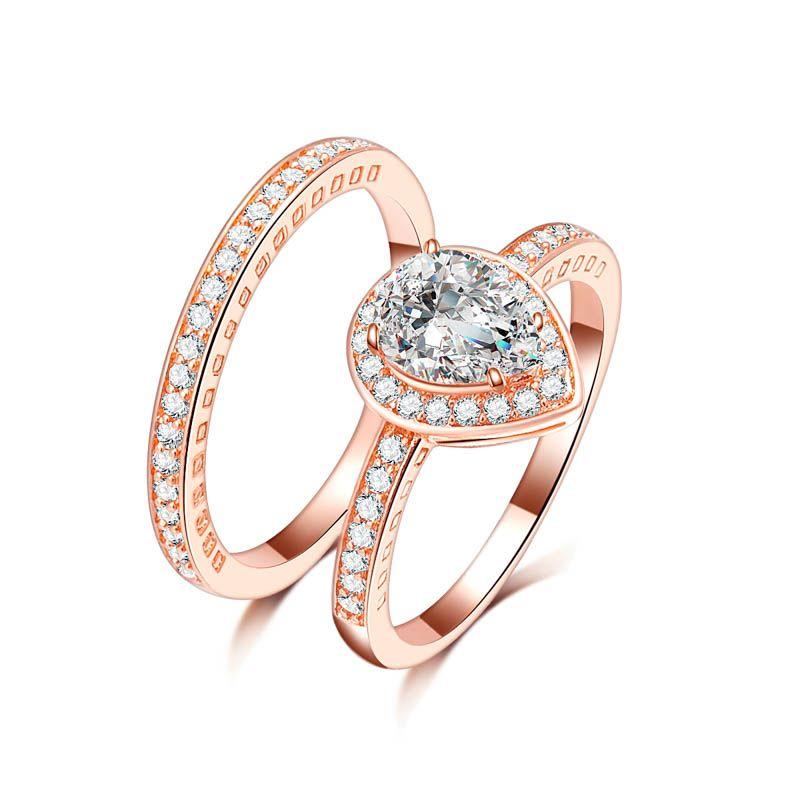 Мода ювелирные изделия женщины свадьба Радуга пара сердце 4ct Циркон розовое золото заполнены обручальное кольцо набор альянс