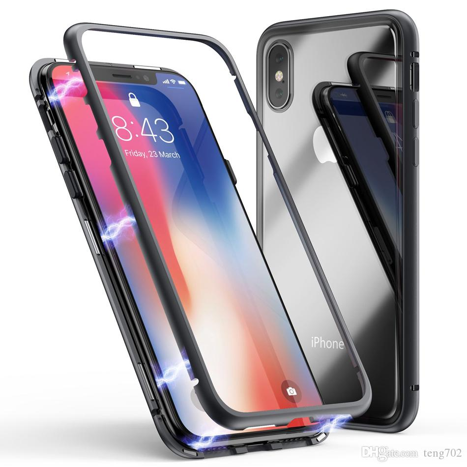 low priced 205b5 8a0de Luxury Magnetic Adsorption Phone Case For IPhone X Xs Max Xr 8 7 6 S Plus  Metal Magnet Absorption Tempered Glass Cover Capa Bumper Cell Phone Case ...
