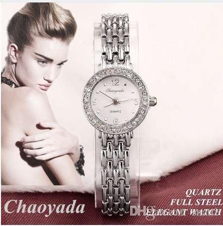 Mujeres CYD Reloj Nuevo Lujo Elegante Cuarzo Moda Casual Reloj Tallado Patrones Pulsera Relojes venta caliente color plata Reloj de pulsera