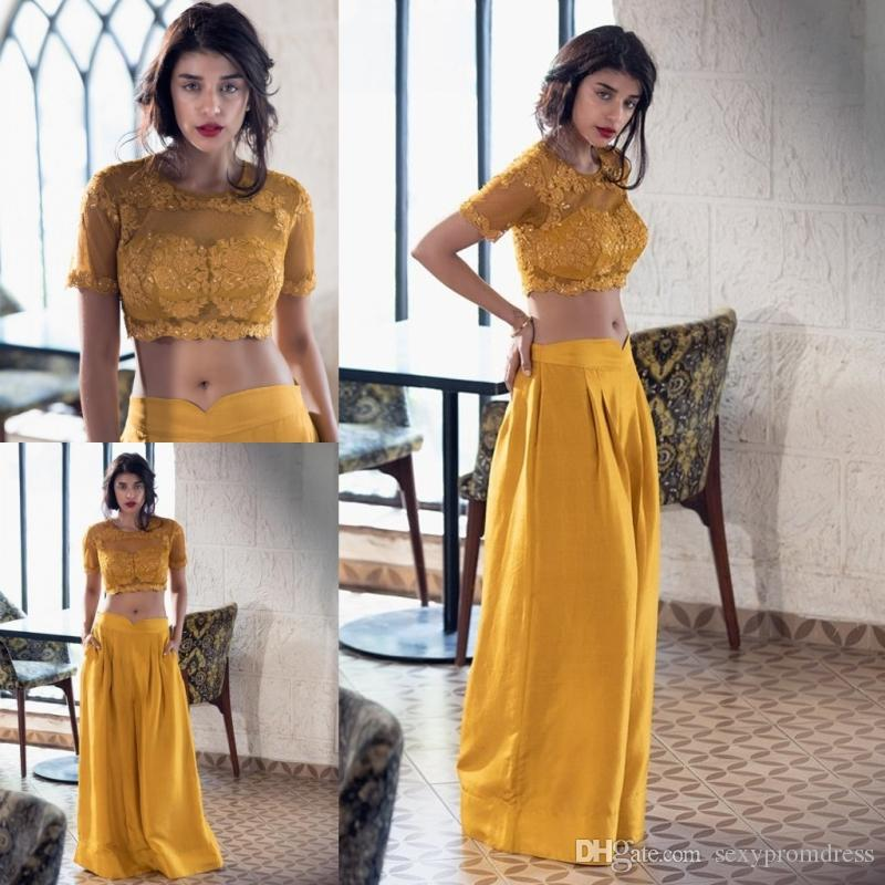 Желтые две части платья выпускного вечера кружева аппликации короткий топ с атласной длинной юбкой элегантное вечернее платье с короткими рукавами женщины ну вечеринку платья